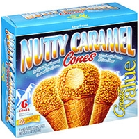 Great Value Ice Cream Nutty Caramel Cones Food Product Image