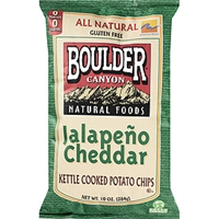 Boulder Canyon Natural Foods Kettle Cooked Potato Chips Jalapeno Cheddar Food Product Image
