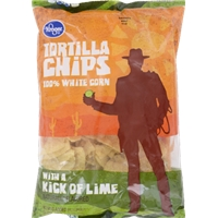 Kroger 100% White Corn Tortilla Chips with a Hint of Lime Food Product Image