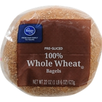 Kroger 100% Whole Wheat Bagels Food Product Image