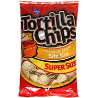 Kroger Tortilla Chips 100% White Corn, Bite Size Food Product Image