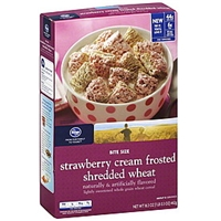 Kroger Cereal Shredded Wheat, Strawberry Cream Frosted, Bite Size Food Product Image