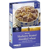 Kroger Cereal Shredded Wheat, Blueberry Frosted, Bite Size Food Product Image