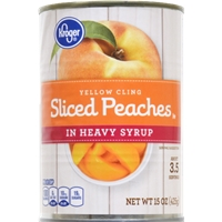Kroger Yellow Cling Sliced Peaches in Heavy Syrup Food Product Image