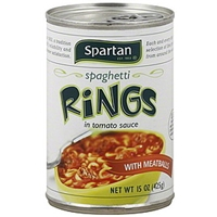 Spartan Spaghetti Rings With Meatballs, In Tomato Sauce Food Product Image