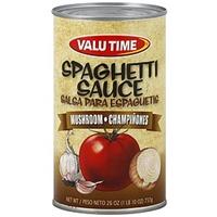 Valu Time Sauce Spaghetti, Mushrooms Food Product Image