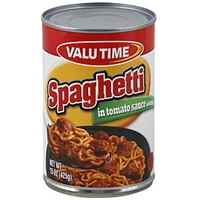 Valu Time Spaghetti In Tomato Sauce With Meat Food Product Image