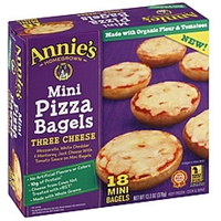 Annies Pizza Bagels Mini, Three Cheese Food Product Image