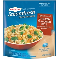 Birds Eye Steamfresh Chef's Favorites Lightly Seasoned Chicken Flavored Rice With A Vibrant Blend Of Broccoli, Carrots and Onions Food Product Image