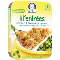 Gerber Lil' Entrees Chicken & Brown Rice with Vegetables in BBQ Sauce with Peas & Corn Food Product Image