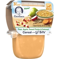 Gerber 3rd Foods Pear, Apple, Sweet Potato & Oatmeal Cereal with Lil' Bits, 5 oz, 2 ct Food Product Image
