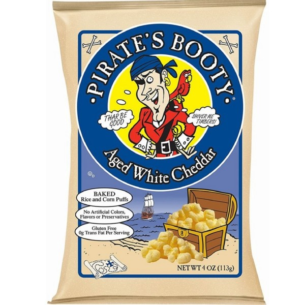 Pirate's Booty Aged White Cheddar Baked Rice and Corn Puffs Food Product Image