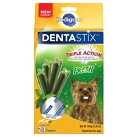 Pedigree DENTASTIX Dog Treats for Toy/Small Dogs Triple Action Fresh - 21 CT Food Product Image