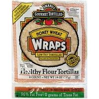 Tumaro's Gourmet Tortillas Healthy Flour Tortillas Honey Wheat Wraps Food Product Image