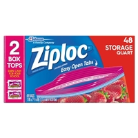 Ziploc Double Zipper Bags Storage Quart - 48 CT Food Product Image