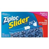Ziploc Slider Stand & Fill Bags Storage Quart - 76 CT Food Product Image