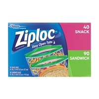 Ziploc Easy Open Tabs Bags Variety Pack - 130 CT Food Product Image