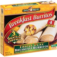 Don Miguel Breakfast Burritos Triple Play Burritos, 4 ct, 17 oz Food Product Image