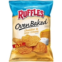 Ruffles Oven Baked Potato Chips Cheddar & Sour Cream Food Product Image