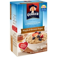 Quaker Instant Oatmeal Lower Sugar Maple & Brown Sugar Flavor Packets Food Product Image