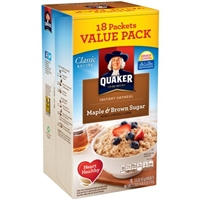 Quaker Instant Oatmeal Maple & Brown Sugar Food Product Image