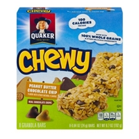 Quaker Chewy Peanut Butter Chocolate Chip Granola Bars - 8 Ct Food Product Image