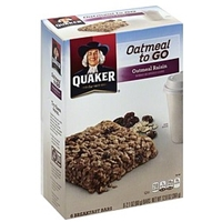 Quaker Oatmeal To Go Oatmeal Raisin Breakfast Bars Food Product Image