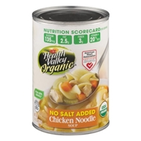 Health Valley Organic No Salt Added Chicken Noodle Soup Food Product Image
