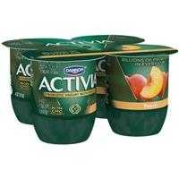 Dannon Activia Probiotic Lowfat Yogurt Peach - 4 CT Food Product Image