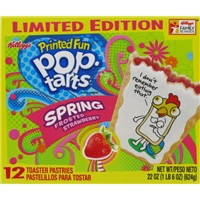 Kellogg's Printed Fun Pop-Tarts Spring Frosted Strawberry - 12 CT Food Product Image