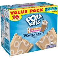 Kellogg's Pop-Tarts Dunkin' Donuts Frosted Vanilla Latte Toaster Pastries, 16ct 28.2oz Food Product Image