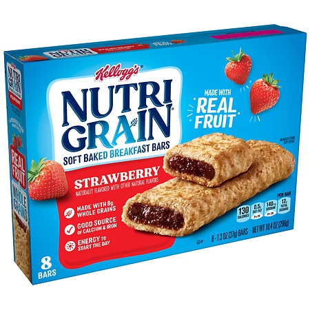 Kellogg's Nutri Grain Soft Baked Breakfast Bars Strawberry - 8 CT Food Product Image