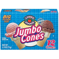 Lowes Foods Ice Cream Cones Jumbo 12 Ct Food Product Image