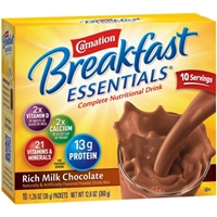 Carnation Breakfast Essentials Complete Nutritional Drink Rich Milk Chocolate - 10 PKS Food Product Image