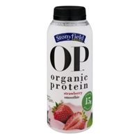 Stonyfield Organic OP Protein Smoothie Strawberry Food Product Image
