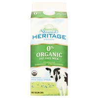 Heritage Organic Fat Free Milk Food Product Image