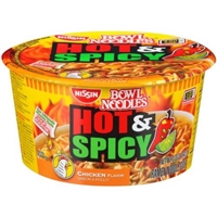 Nissin Bowl Noodles Hot & Spicy Chicken Noodle Soup Food Product Image