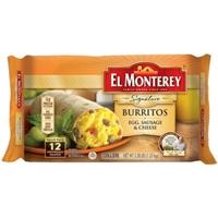 El Monterey Burritos Breakfast Supreme Egg Sausage & Cheese Burritos Food Product Image