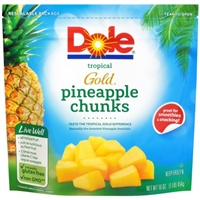 Dole Frozen Tropical Gold Pineapple Chunks Food Product Image