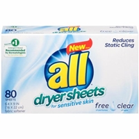 All Dryer Sheets Free & Clear - 80 CT Food Product Image