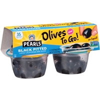 Pearls Olives To Go! Black Pitted Large California Ripe Olives - 4 PK Food Product Image