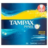 Tampax Pearl Plastic Tampons Regular - 36 Ct Food Product Image