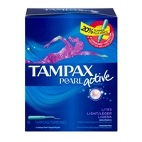 Tampax Pearl Plastic Unscented Lites Tampons - 18 Ct Food Product Image