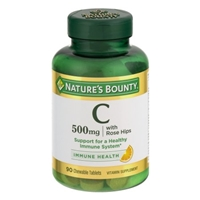 Nature's Bounty Chewable Vitamin C-500 mg with Rose Hips Natural Orange Flavor - 90 CT Food Product Image