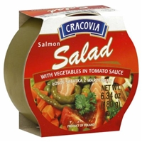 Cracovia Salmon Salad with Vegetables in Tomato Sauce Food Product Image