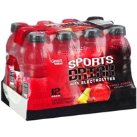 Great Value Fruit Punch Sports Drink with Electrolytes, 16 fl oz, 12 pack Food Product Image