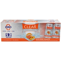Clear American Golden Peach Sparkling Water Beverage, 12 fl oz, 12-Pack Food Product Image