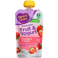 Parents Choice Squeezable Fruit & Yogurt Strawberry & Yogurt Baby Food, 3.5 oz Food Product Image