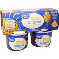 Great Value Original Macaroni & Cheese, 2.05 oz, 4 ct Food Product Image