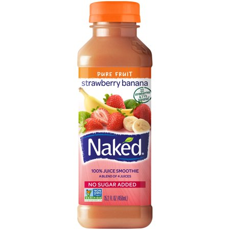 Naked 100% Juice Smoothie Pure Fruit Strawberry Banana Food Product Image